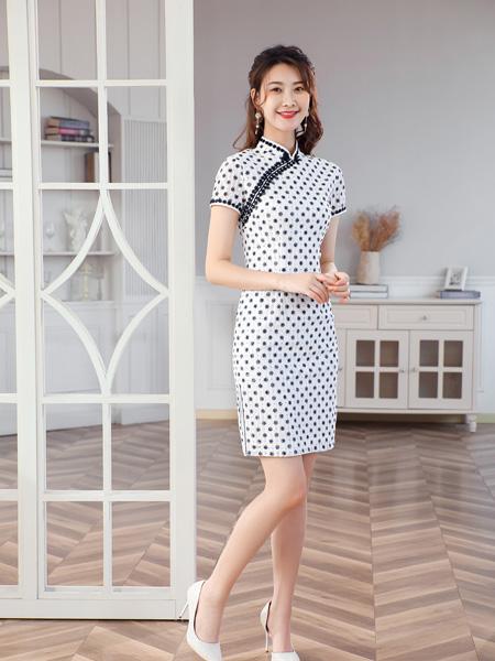 唐雅阁女装品牌2021夏季波点可爱风旗袍