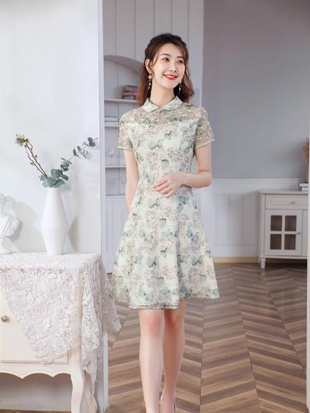 唐雅阁女装品牌2021夏季雪纺翻岭连衣裙
