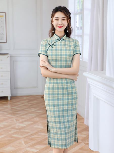 唐雅阁女装品牌2021夏季中国风绿色格子长款改良旗袍