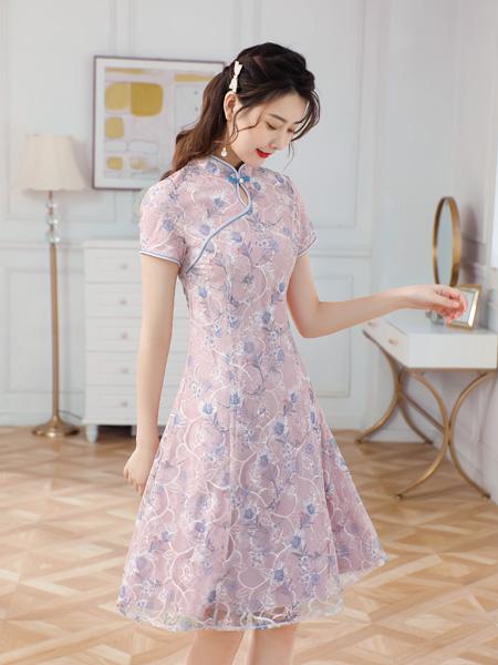 唐雅阁女装品牌2021夏季灵动浪漫改良旗袍连衣裙