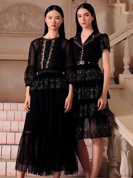 纽方女装品牌2021夏季雪纺黑色蕾丝边时尚长裙
