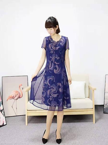 靓漫蒂女装品牌2021夏季紫色亲肤透气连衣裙