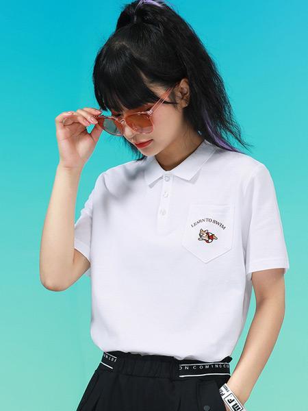 Jeanswest真维斯女装品牌2021夏季学院风纯色POLO衫