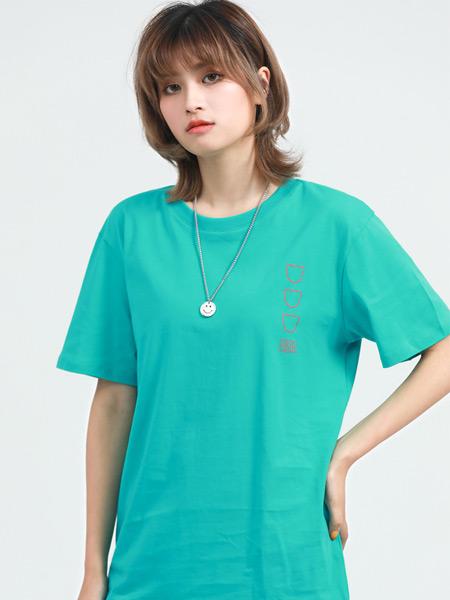 Jeanswest真维斯女装品牌2021夏季朋克绿色T恤