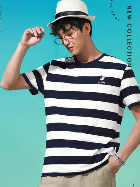 Jeanswest真维斯男装品牌2021夏季条纹塔里T恤