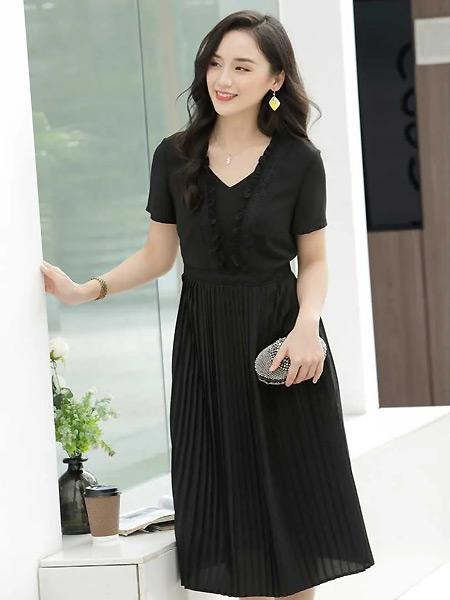 赫梵茜女装品牌2021夏季V领收腰黑色连衣裙