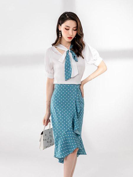 �垡郎�女�b品牌2021夏季波�c半身�~尾裙