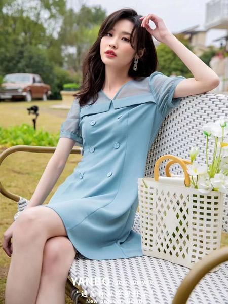 妍帛女装品牌2021夏季薄款舒适蓝色长裙