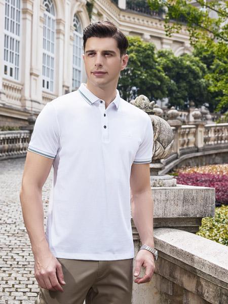 爱迪丹顿男装品牌2021夏季白色休闲POLO衫