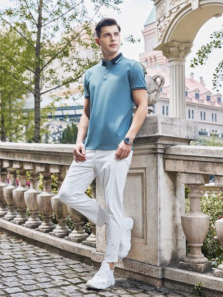 爱迪丹顿男装品牌2021夏季蓝色绅士POLO衫