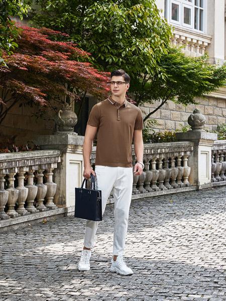 爱迪丹顿男装品牌2021夏季棕色通勤POLO衫