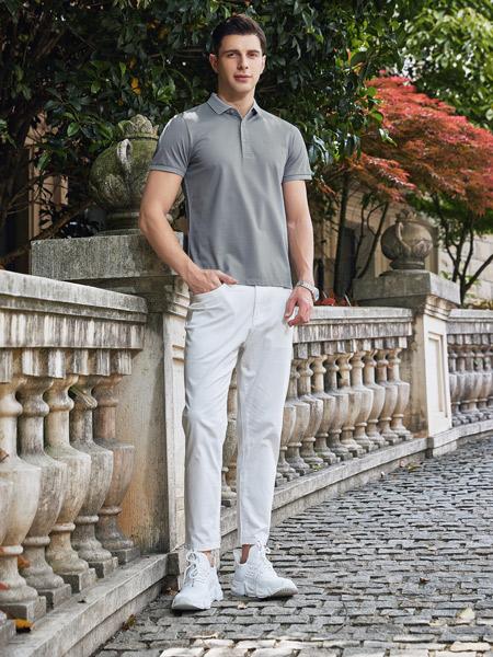 爱迪丹顿男装品牌2021夏季灰色简约风POLO衫