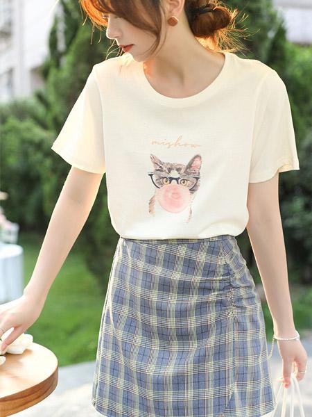 谜秀女装品牌2021夏季韩风设计感小众宽松短袖chic上衣女