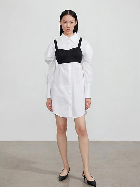 EXCHANGEYOURMOOD女装品牌2021夏季小众设计感裹胸两件套中长款白色衬衣