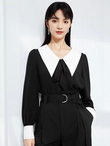 简诣女装品牌2021夏季OL风法式翻领束腰连衣裙