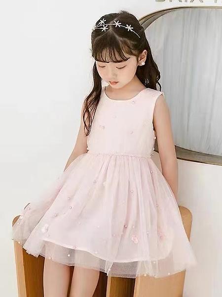 中启服饰童装品牌2021夏季粉色别致点缀公主裙