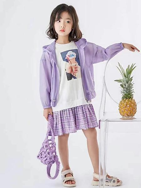 中启服饰童装品牌2021夏季紫色休闲外套