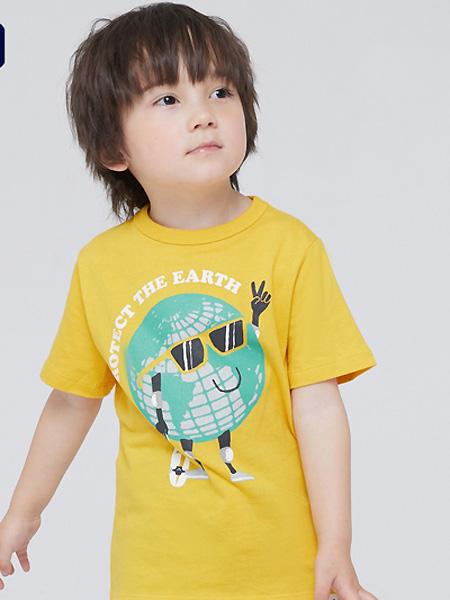 中启服饰童装品牌2021夏季黄色纯棉透气T恤
