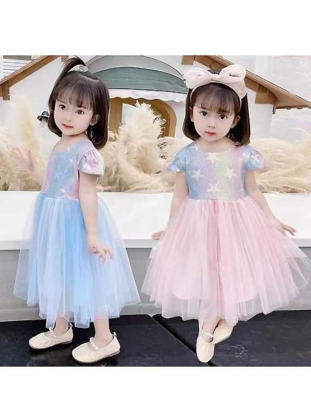 中启服饰童装品牌2021夏季甜美可爱印花生日连衣裙
