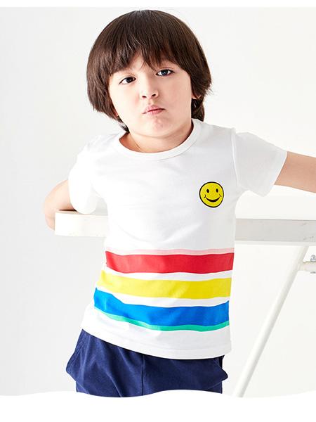 小红豆童装品牌2021夏季条纹弹力T恤