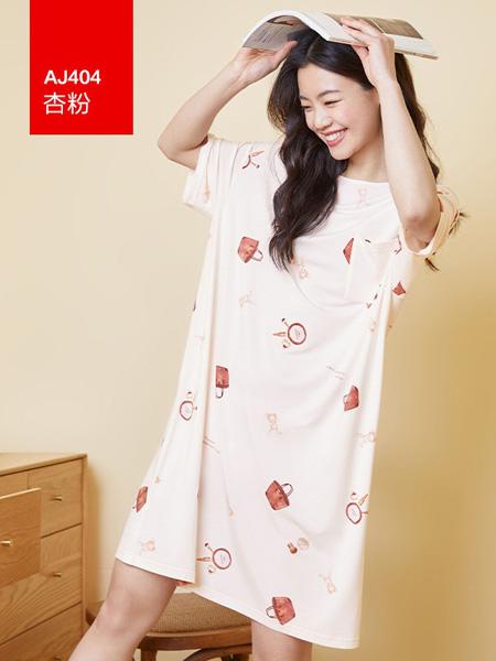 红豆居家内衣品牌2021春夏可爱小图案印花睡裙