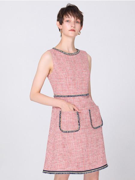 2021夏季粉橘色�A�I�o袖中�L款�凸判∠泔L花呢�B衣裙