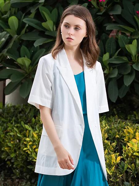 城绘女装品牌2021春夏中长款白色短袖外套