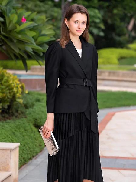 城绘女装品牌2021春夏黑色通勤外套