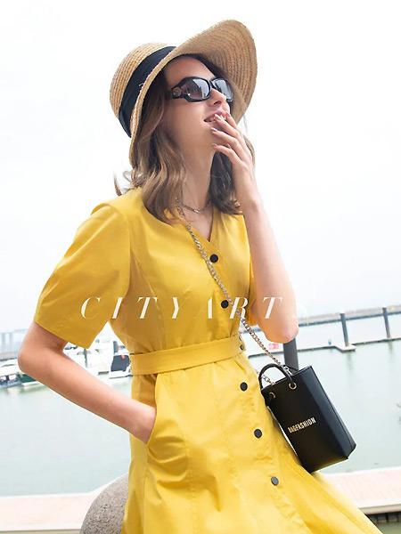 城绘女装品牌2021春夏黄色中袖减龄连衣裙