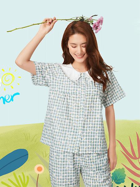 天竹健康生活馆内衣品牌2021夏季娃娃领蓝色格子睡衣套装