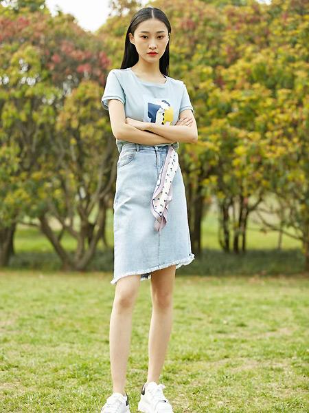 宝薇女装品牌彩38平台2021夏季蓝色森系T恤