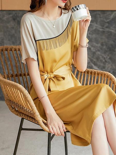 简诣女装品牌2021夏季拼接滑顺束腰连衣裙