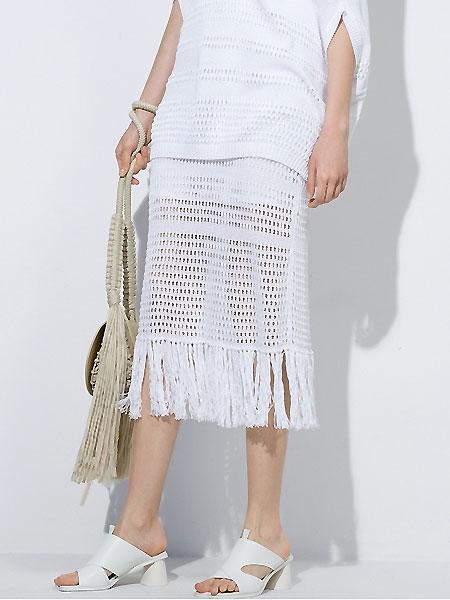 Masfer.SU女装品牌2021夏季镂空流苏白色中长款半身裙
