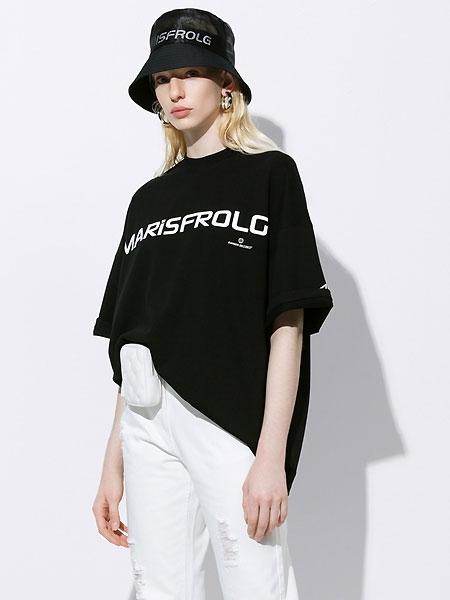 Masfer.SU女装品牌2021夏季圆领短袖宽松黑色纯棉T恤