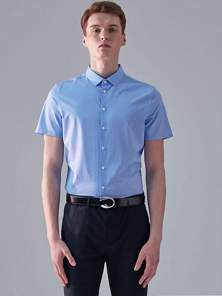微奢零度男装品牌2021夏季经典蓝色职场衬衣