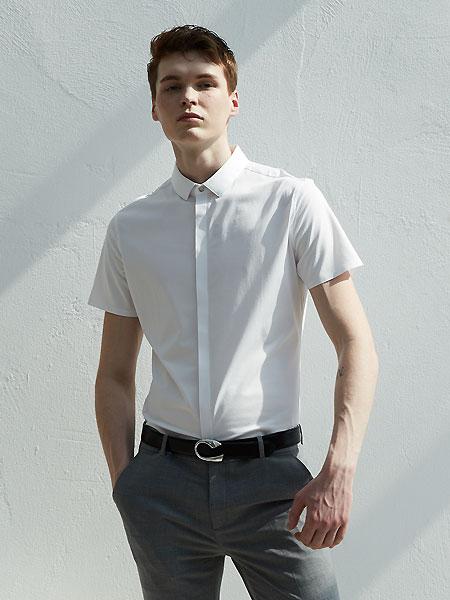 微奢零度男装品牌2021夏季帅气白色短袖衬衣