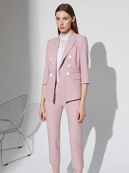 奧倫提女裝品牌2021夏季粉色西裝套裝