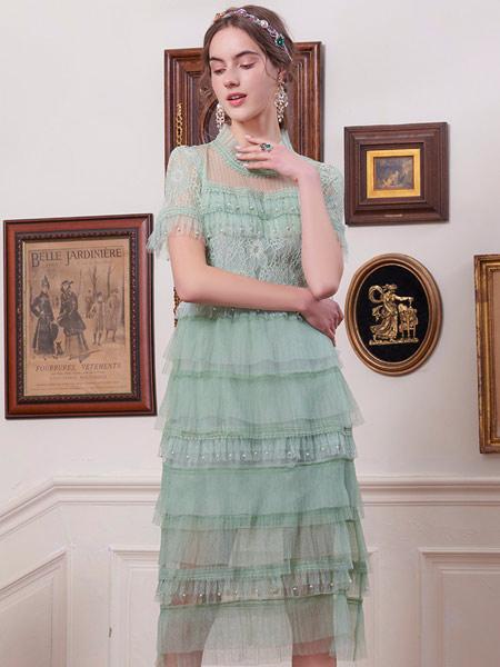 斐格思女装品牌2021夏季气质复古连衣裙女收腰中长款蕾丝仙女裙蛋糕裙