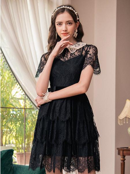斐格思女装品牌2021夏季翻领收腰连衣裙女别致设计感显瘦拼接气质蕾丝裙