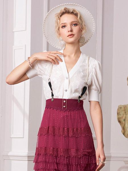 斐格思女装品牌2021夏季泡泡袖针织开衫女装复古刺绣网纱修身短款上衣