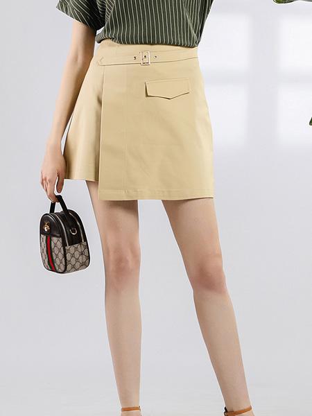 依贝奇2021夏季短裙不规则高腰a字裙显瘦半身裙职业通勤