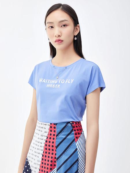 莫�V/MR&Er女装品牌2021夏季打底衫棉字母印花短袖t恤女