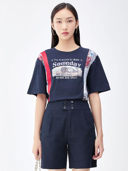 莫乂/MR&Er2021夏季网红炸街宽松显瘦印花撞色拼接短袖t恤
