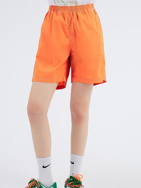 木果果木女装品牌2021夏季直筒宽松短裤薄款BF风松紧高腰休闲运动中裤女
