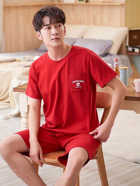 宫蝶内衣品牌2021夏季红色纯棉居家套装