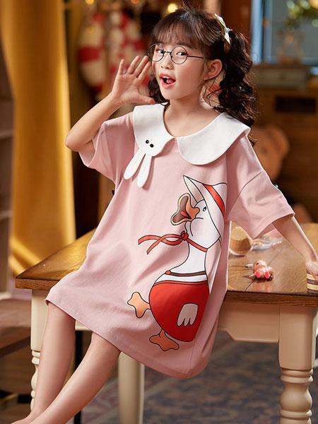 宫蝶内衣品牌2021夏季纯棉薄款亲子大童短袖睡衣家居服