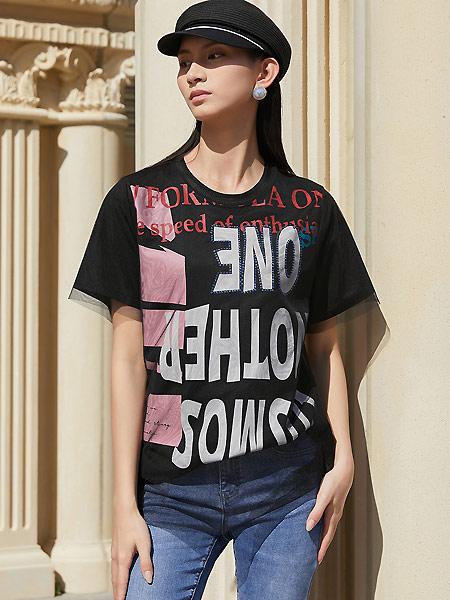 ANOTHER ONE女裝品牌2021夏季中長款短袖T恤女BF風寬松字母網紗燙鉆