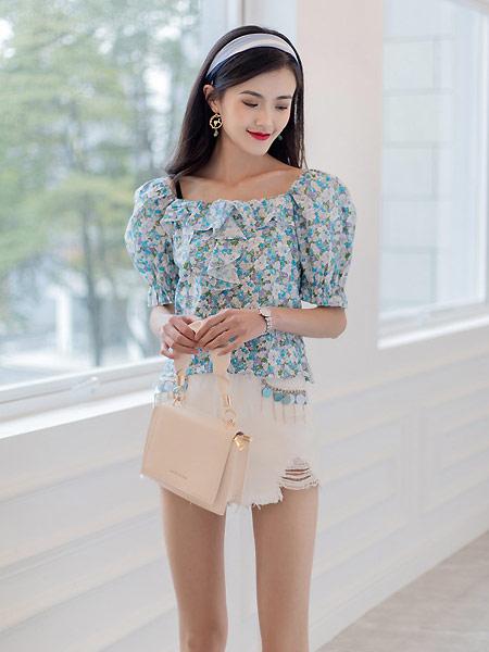 美丽衣橱2021夏季小清新碎花方领衬衫