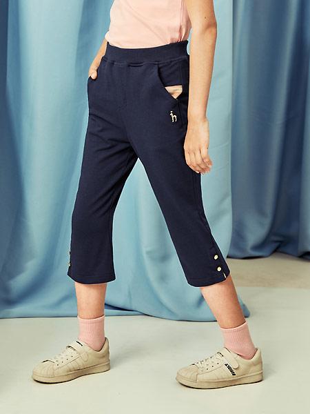 哈吉斯童装品牌2021夏季收腰纯棉七分裤