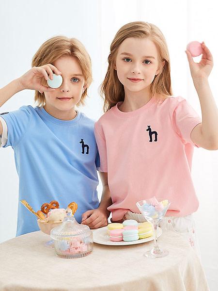 哈吉斯童装品牌2021夏季纯色简约宽松T恤